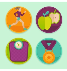 set of fitness icons vector image