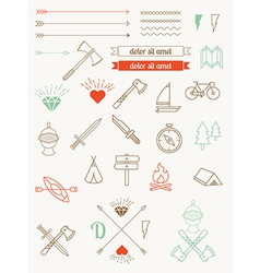 Set of icons items badges hipster style vector