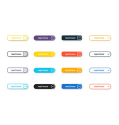 set read more modern flat buttons for vector image