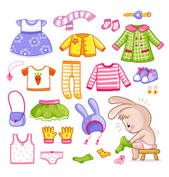 Set with clothes in cartoon style vector