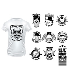 Skull print design set vector