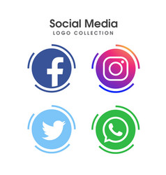 social media logo collection vector image