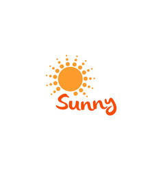 sun orange color abstract simple icon rounded vector image