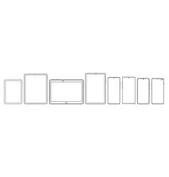 Tablets and phones wireframe outline icons vector