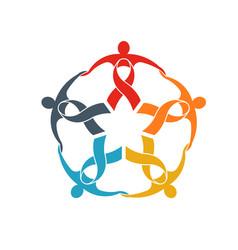 teamwork five ribbon people logo people group vector image