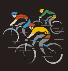 three road cyclists competition vector image