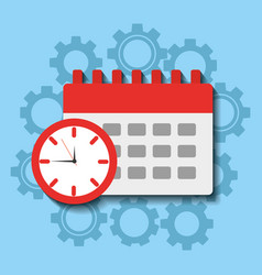 Time clock calendar work planning vector