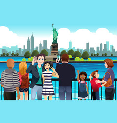 tourists taking picture near statue of liberty vector image