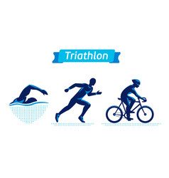 triathlon logos or badges set figures vector image
