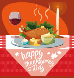 Turkey dinner of thanksgiving day in table vector