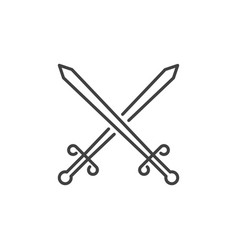 two crossed swords icon in thin line style vector image