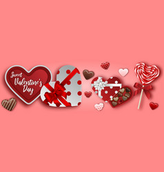 Valentines day banner with chocolates vector