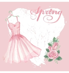 Vintage spring cardWatercolor pink dress rose vector image
