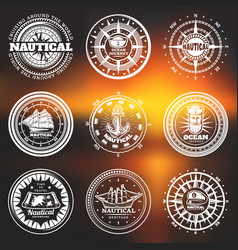 Vintage white nautical round labels vector