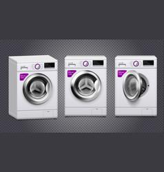 Washing machine realistic set vector