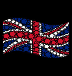 Waving uk flag pattern of piggy items vector