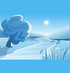 winter river landscape vector image