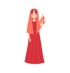 woman or hestia greek goddess stands holding flame vector image