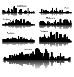 Collection of Detailed silhouettes of Austr vector image vector image
