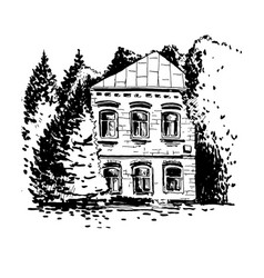 mansion among the trees vector image vector image
