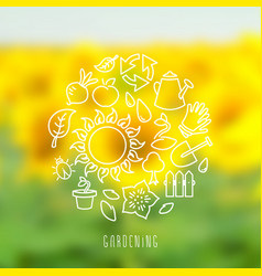 round gardening theme vector image vector image
