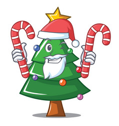 santa with candy christmas tree character cartoon vector image vector image