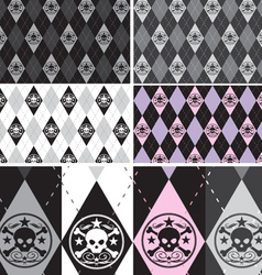 Skull Argyle Seamless Pattern set vector image