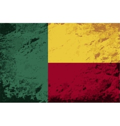 Benin flag Grunge background vector image vector image