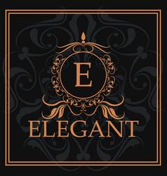 elegant e gold calligraphic heraldic element vector image