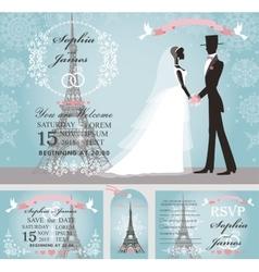 Wedding invitationsBridegroomsnowParis Winter vector image