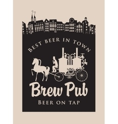 brewery with horse carriage in the old town vector image vector image
