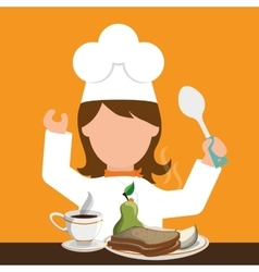 chracter girl chef breakfast healthy food spoon vector image