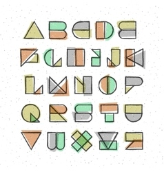 Geometric offset printing style font vector image vector image