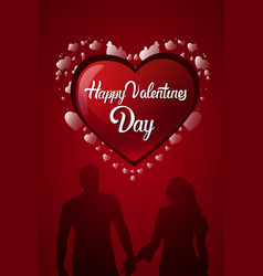 happy valentines day card design heart shape and vector image vector image