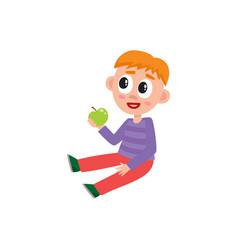 little preschool kindergarten boy sitting on vector image vector image