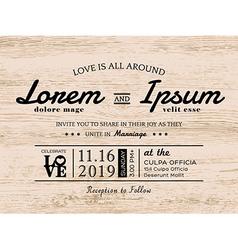 Vintage typography Wedding invitation card design vector image vector image