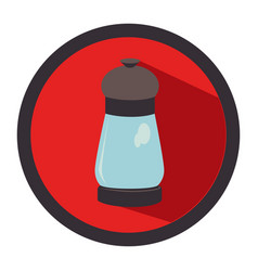 circular button with salt glass container vector image