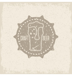 craft beer concept grunge label with needle and vector image