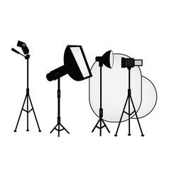 flat studio light equipment set vector image