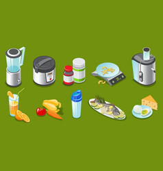 isometric healthy lifestyle elements set vector image vector image