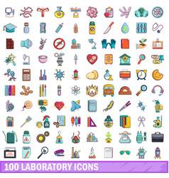 100 laboratory icons set cartoon style vector image