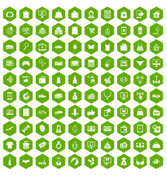 100 online shopping icons hexagon green vector
