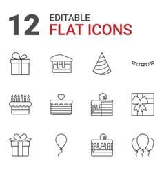 12 birthday icons vector image