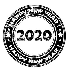 2020 happy new year rubber stamp vector image