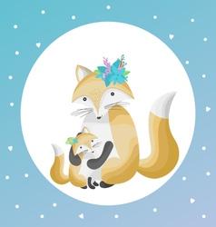 A cute foxes family flat design vector
