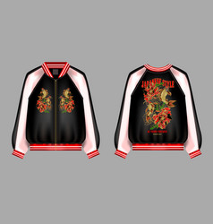 A print for a bomber or swisshot with embroidery vector