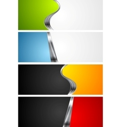 Abstract bright banners with metal elements vector image