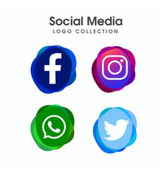 abstract social media icon collection vector image