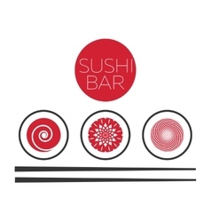 Abstract sushi bar food logo template vector image