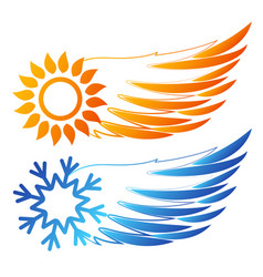 air conditioning sun and snowflake wings vector image